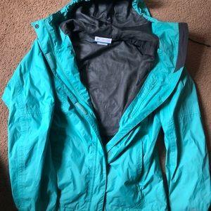 Columbia rain jacket aqua green